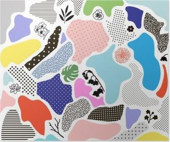 Poster Creatieve geometrische achtergrond met bloemen elementen en verschillende texturen. Vector