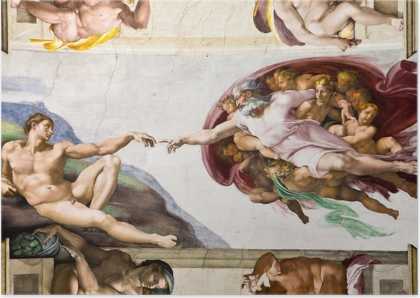 creation of adam by michelangelo sistine chapel rome poster