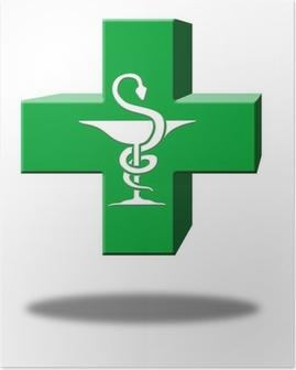 croix pharmacie 3D caducée Poster