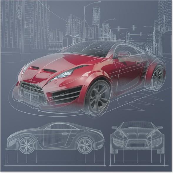 Poster croquis voiture de sport conception de la voiture originale pixers nous vivons - Croquis voiture ...