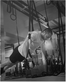 Crossfit fitness TRX push ups man workout Poster