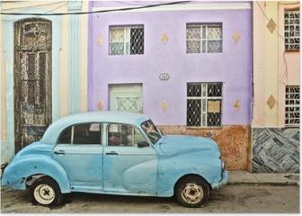 Cuba, La Habana, Broken Down Vintage Car Poster