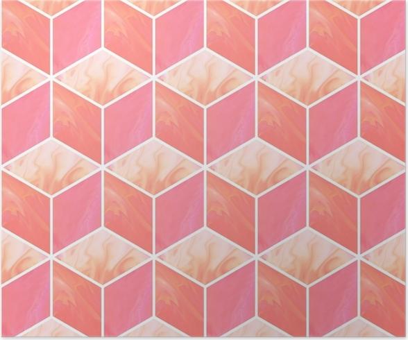 Poster Cubes 3d Modele Sans Couture Abstrait Avec Des Textures De