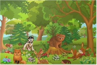 cute animals living in the forest Poster