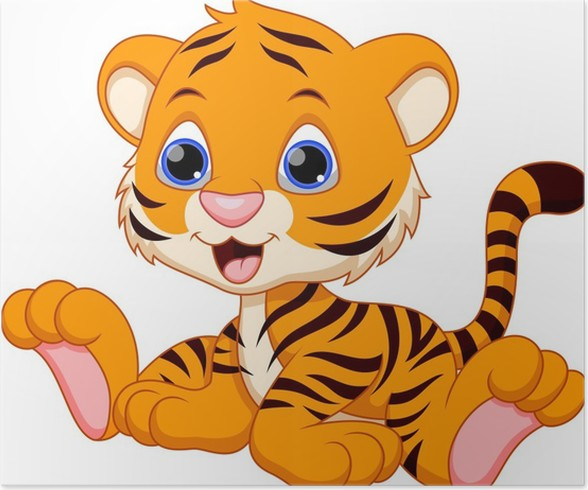 Cute Baby Tiger Cartoon Poster