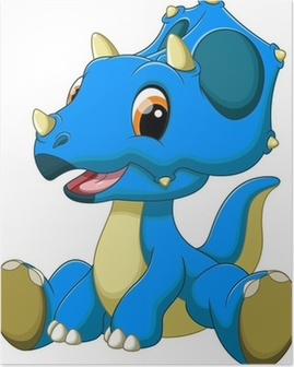Cute baby triceratops cartoon Poster