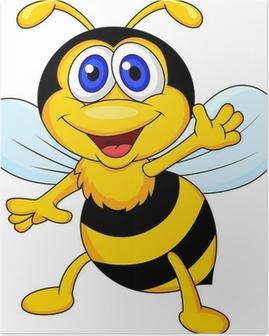 Cute bee cartoon waving Poster