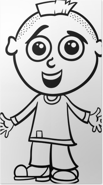 Cute Boy Cartoon Coloring Page Poster