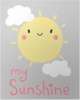 cute cartoon sun graphic, vector, illustration Poster