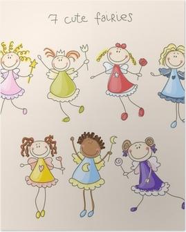 Cute fairies illustration Poster