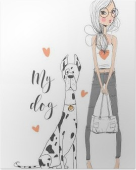 cute girl with dog Poster