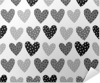 cute grey hearts with dots seamless pattern wall mural pixers
