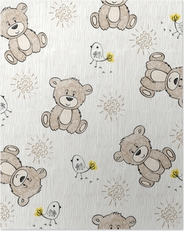 Cute hand draw seamless pattern for kids. Poster