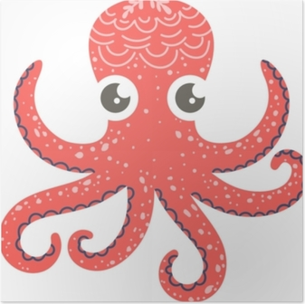 Cute illustration of octopus for nursery decor, prints and posters, doodle style illustration. Vector Poster