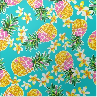 Cute pineapples seamless print Poster