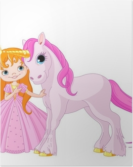 Cute Princess and Unicorn Poster