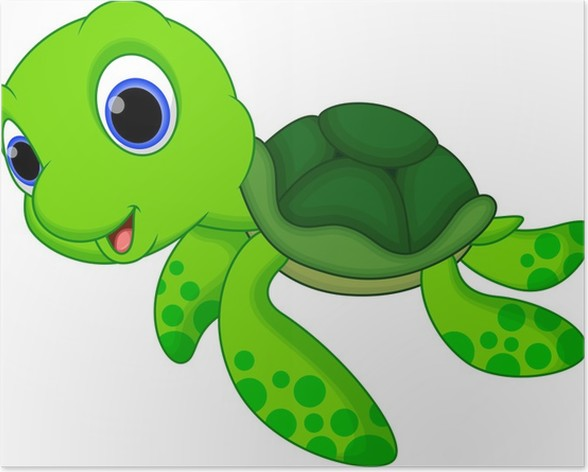 cute turtle cartoon poster pixers we live to change