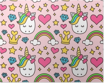 Cute unicorn, princess concept, girl beauty seamless pattern isolated on pink background. Vector cartoon design. Magic, fairy tale, heart, rainbow, crown, stars, diamond Poster