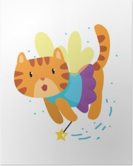 Cute winged red cat with a magic wand, fantasy fairy tale animal cartoon character vector Illustration Poster