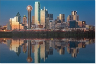 Dallas skyline reflected in Trinity River at sunset Poster
