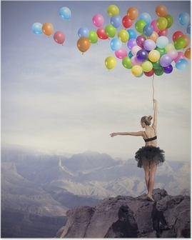 Dancer with balloons Poster