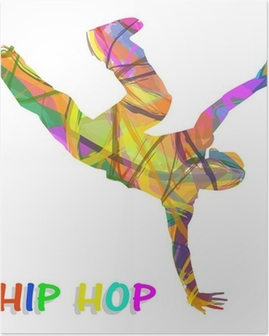Poster Danseur composée de couleurs qui dansent le hip-hop