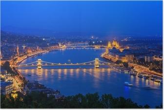 Poster Danube. Budapest. Hongrie