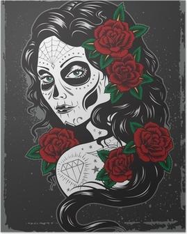 Day of dead girl tattoo illustration Poster