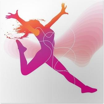 Poster De danser. Kleurrijke silhouet met lijnen en sprays op abstrac