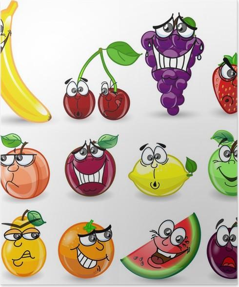 Póster De dibujos animados de color naranja, plátano, ciruela, limón ...