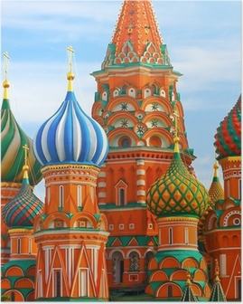 Poster De meest bekende plaats in Moscow, Saint Basil's Cathedral, Rusland