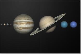 Poster De planeten van het zonnestelsel met de juiste relatieve grootte.