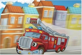 Poster De rode firetruck - plicht - illustratie voor de kinderen