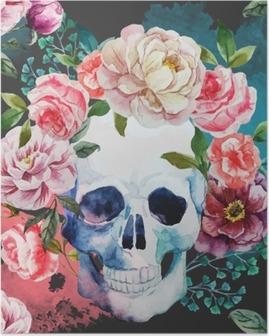 Poster De schedel van de waterverf