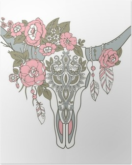 Decorative Indian bull skull with ethnic ornament, flowers and l Poster