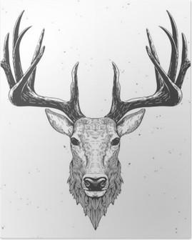 deer head on white Poster