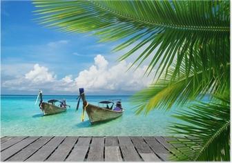 Poster Dek met uitzicht op een tropische zee