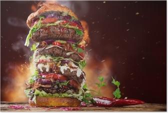 Poster Délicieuse grand hamburger sur bois