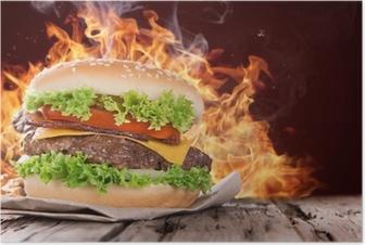Poster Délicieux hamburger sur bois