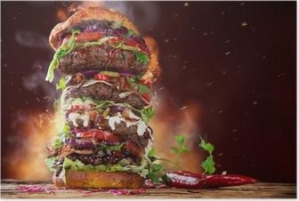 delicious big hamburger on wood Poster