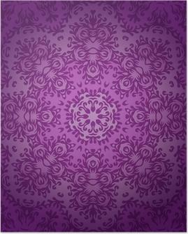Poster Dentelle cercle ornement oriental, modèle napperon ornement sur la violette