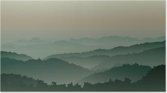 Poster Des montagnes vertes dans le brouillard
