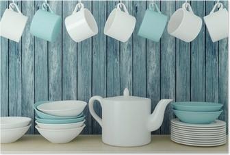 Poster Des ustensiles de cuisine en céramique sur le plateau.