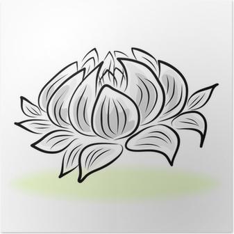 Papier Peint Dessin A La Main Fleur De Nenuphar Pixers Nous