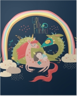 Poster Dessin animé mignon dragon, licorne et petite princesse