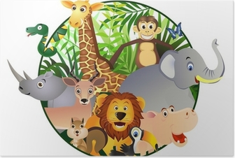 Poster Dessin animé Safari