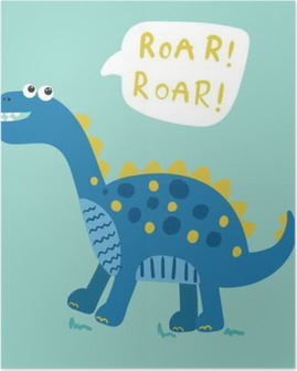Poster Dessin animé vecteur de dinosaure illustration