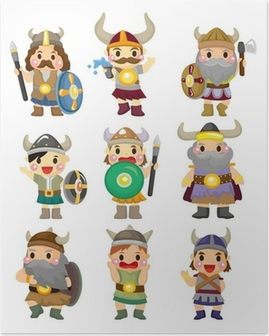 Poster Dessin animé Viking Pirate icon set