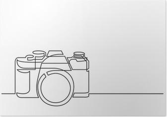 Poster Dessin au trait continu de caméra photo rétro