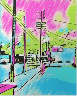 Poster Dessin et peinture bleu ville rose et ciel vert